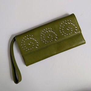 EUC Donald j. Pliner Couture Olive Green Clutch
